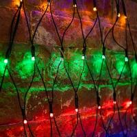 Гирлянда Сеть 2х2х1.5м,  свечение с динамикой, черный ПВХ, 136 LED, 230 В, цвет: Мультиколор