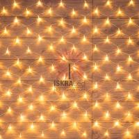 Гирлянда Сеть 1,5х1,5м, прозрачный ПВХ, 150 LED ТЕПЛЫЙ БЕЛЫЙ
