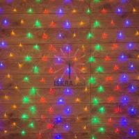 Гирлянда Сеть 1,5х1,5м, прозрачный ПВХ, 150 LED Мультиколор