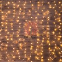 Гирлянда Светодиодный Дождь 2*3 м, свечение с динамикой, прозрачный провод, 230 В, цвет Теплый Белый