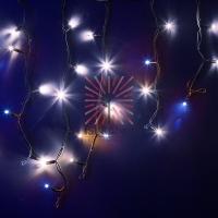 Гирлянда Айсикл (бахрома) светодиодный, 4,0 х 0,6 м, с эффектом мерцания, черный провод КАУЧУК, 230 В, диоды белые, NEON-NIGHT