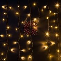 Гирлянда Айсикл (бахрома) светодиодный, 6,0 х 1,5 м, черный провод КАУЧУК, 230 В, диоды ТЕПЛЫЙ БЕЛЫЙ, 480 LED NEON-NIGHT