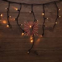 Гирлянда «Айсикл» («Бахрома») светодиодная 5х0,7 м, с эффектом мерцания, 152 LED, черный провод каучук, теплое белое свечение NEON-NIGHT