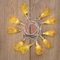 Гирлянда светодиодная Восточные фонарики 10 LED ЖЕЛТЫЕ 1,5 метра, прозрачный ПВХ, питание 2*АА