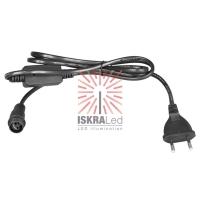 Комплект подключения уличных для гирлянд 230В / 4А, цвет провода: черный, IP65