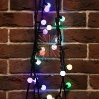 Гирлянда Мультишарики ?23 мм, 10 м, черный каучук, 80 LED, свечение с динамикой, цвет RGB