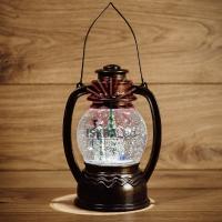 Декоративный фонарь с эффектом снегопада и подсветкой Снеговики, Белый
