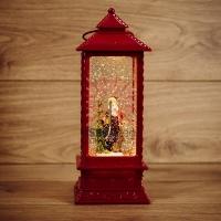 Декоративный фонарь с эффектом снегопада и подсветкой Дед Мороз, ТЕПЛЫЙ БЕЛЫЙ