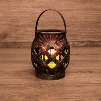 Декоративный фонарь со свечкой, плетеный корпус, бронза, размер 14х14х16,5 см, цвет теплый белый