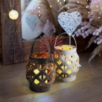 Декоративный фонарь со свечкой, плетеный корпус, белый, размер 14х14х16,5 см, цвет теплый белый