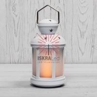 Декоративный фонарь 12х12х20,6 см, белый корпус, теплый белый цвет свечения с эффектом пламени свечи NEON-NIGHT