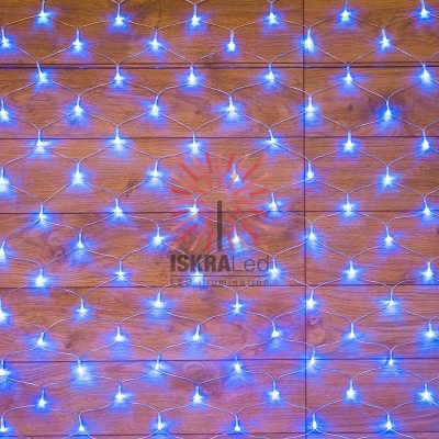 Гирлянда сеть 1,8х1,5м, прозрачный ПВХ, 180 LED, цвет: Синий