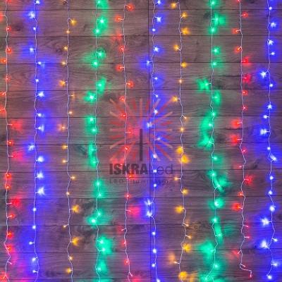 Гирлянда Светодиодный Дождь  1,5х1,5м, свечение с динамикой, прозрачный провод, 230 В, диоды МУЛЬТИКОЛОР