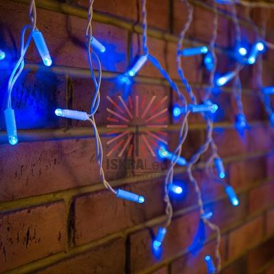 Гирлянда Айсикл (бахрома) светодиодный, 1,8 х 0,5 м, белый провод, 230 В, диоды синие, 48 LED