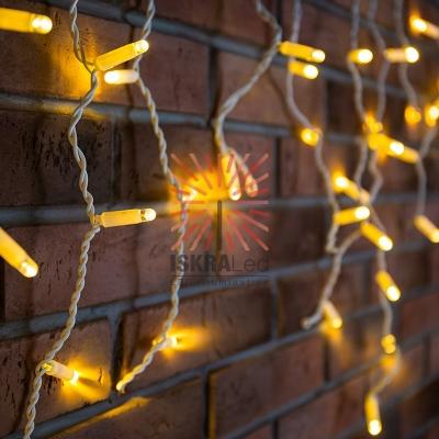 Гирлянда Айсикл (бахрома) светодиодный, 4,8 х 0,6 м, белый провод, 230 В, диоды ТЕПЛЫЙ БЕЛЫЙ,  152 LED