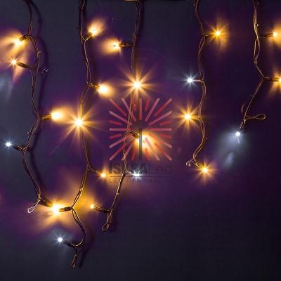 Гирлянда Айсикл (бахрома) светодиодный, 4,0 х 0,6 м, с эффектом мерцания, черный провод КАУЧУК, 230 В, диоды ТЕПЛЫЙ БЕЛЫЙ, 128 LED NEON-NIGHT
