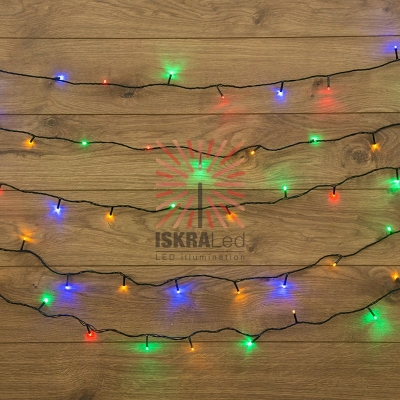 Гирлянда Твинкл Лайт 6 м, темно-зеленый ПВХ, 40 LED, цвет мультиколор