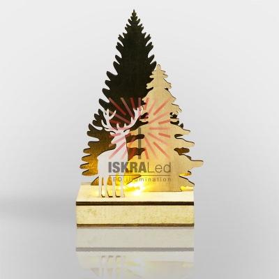 Деревянная фигурка с подсветкой  Елочка с оленем 12*6*21,5 см