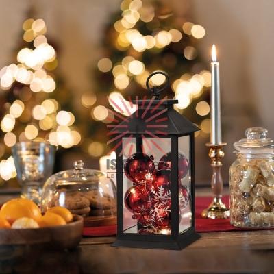 Декоративный фонарь с шариками, черный корпус, размер 14х14х27 см, цвет теплый белый